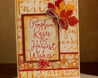 Hand Stamped & Embossed Pumpkin Kisses Fall, Any Occasion Card with Envelope
