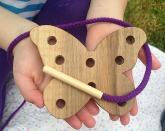 Wood Butterfly Toy - Wooden Lacing Card - Childrens Toys - Gifts for Kids - Montessori Materials - Kids Learning