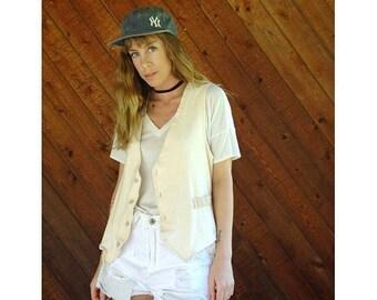 EXTRA 20% OFF SALE.... Woven Cotton Boho Button Down Vest - Vintage 90s - S/M
