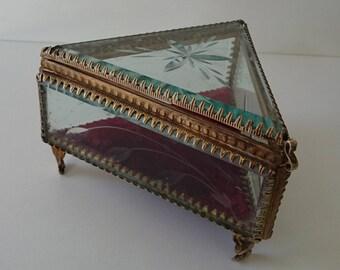 Antique Glass & Brass Triangle Trinket Jewelry Box.