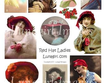RED HAT LADIES digital collage sheet, Flappers vintage photos tinted postcards Victorian Edwardian girls, redhat society, ephemera Download