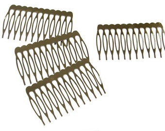 Silver Metal Hair Combs with Teeth for hair accessories Pack of 12 PCS Available in 3 Sizes Wholesale Price