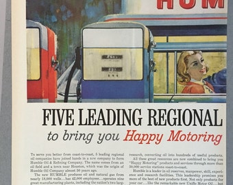 1960 Humble Oil & Refining Company Double Page Print Ad - Carter - Enco - Pate - Okahoma - Gas Station