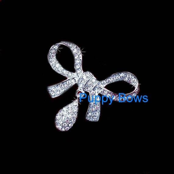 Puppy Bows ~ Silver crystal rhinestone dog BOW dangle teardrop barrette~ US Seller