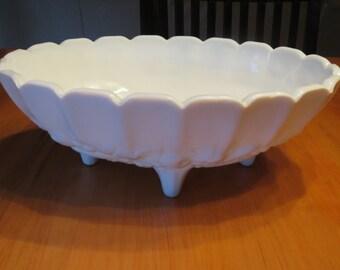 Indiana Glass Fruit Bowl, Harvest Pattern Fruit Bowl, Fruit Bowl, Serving Bowl, White Milk Glass Fruit Bowl, Indiana Glass, Harvest Pattern