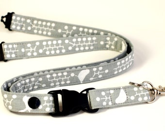 Detachable Fabric Lanyard, ID Badge Safety Breakaway Lanyard & Release Key Ring, Gray and White Birds and Dots, Women's Neck Lanyard