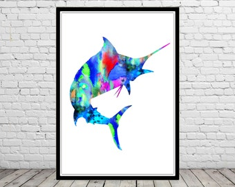 Marlin, Watercolor Marlin, watercolor art print, fish print, Marlin art, home decor, watercolor print, fish art (2424b)