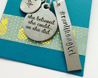 Run like a Girl necklace, runners gift, half marathon gift, marathon gift, triathlon, 5k race runner, She believed she could so she did