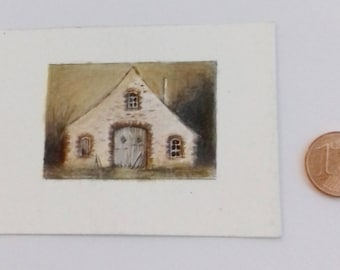 Painted with acrylic on cardboard in the scale 1zu12, Doll House, dollhouse miniatures, miniatures,.