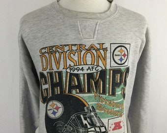 Vintage 90s Pittsburgh Steelers 1994 AFC Champions Starter Gray Pull Over Size XL