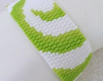 Partial Lime Swirls Peyote Cuff Bracelet (2242)