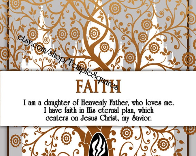 """Printable - 3 sizes! LDS Young Women Personal Progress Values """"Faith"""" Art 2014 Instant Download Digital Files"""