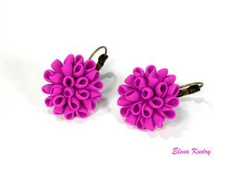 Fuchsia Earrings Hot Pink Earrings Pink Summer Earrings Pink Floral Earrings Pink Drop Earrings Pink Clay Earrings Modern Fuchsia Jewelry