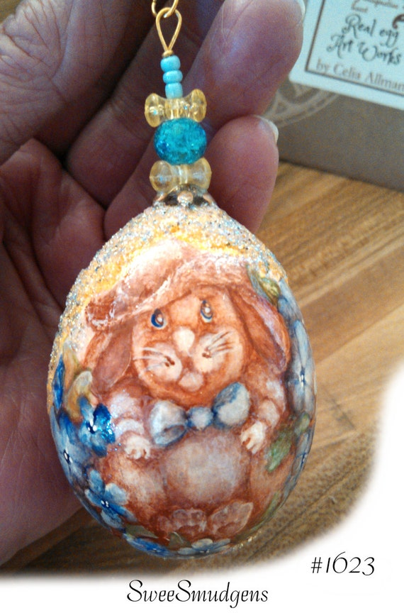 Spring bunny Easter egg ornament original miniature painting blue flowers garden rabbit hand made blue yellow gold brown real egg ornament