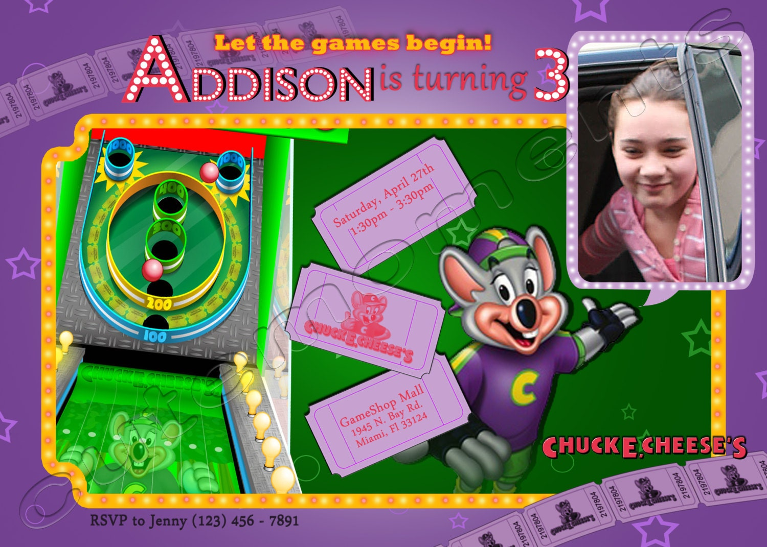 Chuck e cheeses personalized birthday party invitation zoom filmwisefo
