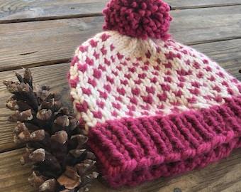 Chunky Knit Pom Hat, Valentines Pink Pom Hat, Womens Chunky Winter Hat, Teen Pom Pom Hat, Winter Chunky Beanie, Fair Isle Hat, Handknit Wool