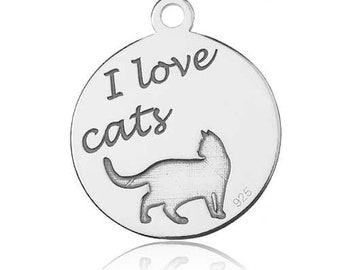 Charm 'I love Cats' Sterling Silver 925