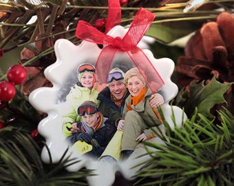 Personalized Christmas Holiday Ornament - Porcelain Snowflake with Your Photo and Family Name