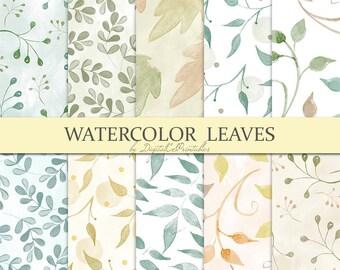 Watercolor digital paper Watercolor leaves digital paper  Autumn leaves Leaf pattern leaf print Watercolor papers Digital scrapbook paper