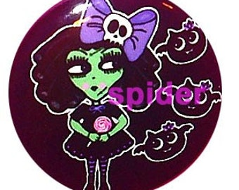 Frankenstein Dolly with her Baby Bats 1 inch Button Pins Halloween Button Pin Cute Trick or Treat Pin