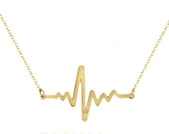 14k Solid Gold Heartbeat  necklace made with 14k solid gold Personalized  solid 14k gold ord 14k White gold