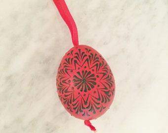 Red Egg, Ukranian Egg, Folk Art Egg, Pysanka Egg, Hand Decorated Egg, Black Red Egg, Christmas Ornament, Easter Decor