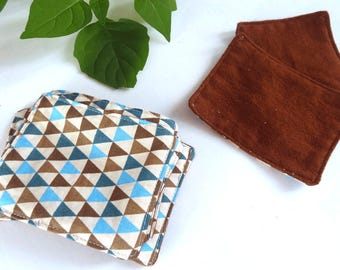 Set of 10 cotton wipes, wipes, Scandinavian, cotton fleece square Remover square washable, chocolate, Teal triangle