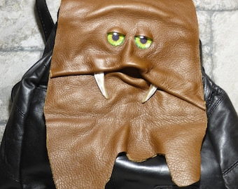 Dragon Black Brown Leather Backpack Tablet Rucksack With Face Harry Potter Labyrinth Goth 456