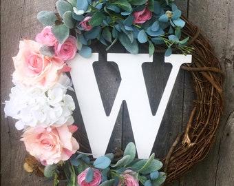 Wreath For Door, Monogram Wreath, Front Door Wreath , Summer Door Wreath, Wedding Decor, Wedding Gift, Wreath With Letter, Wedding Wreath