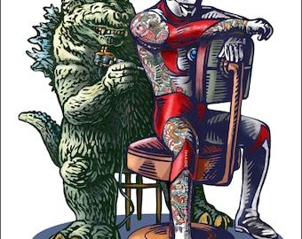 Kaiju Tattoo- 11 x 14 Signed Print