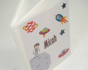 Boy Photo Book, Personalized Photo Album, Baby Picture Album, Rocket Ship, Grandmas brag book 094