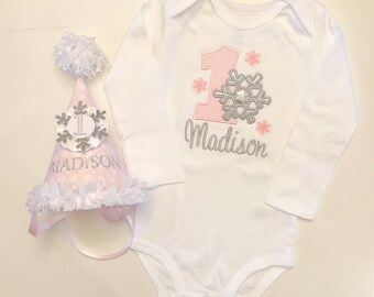 Girl Winter Onederland Bodysuit & Crown/Hat Set, 1st Birthday, Personalized Bodysuit, Snowflake Crown, Photo Prop Set , Pink and Silver