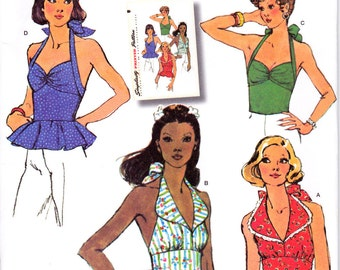Simplicity 1365, reproduction of a vintage 1970's halter-top pattern, uncut, sizes 6-14