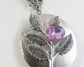 Lavender Tree,Purple Necklace,Purple Locket,Lavender Necklace,Alexandrite,Silver Locket.June Birthstone,Birthstone,june Valleygirldesigns