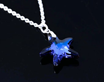 Starfish Necklace, Swarovski Crystal Starfish Necklace, Blue beach party - Bridesmaid gift Necklace. Sapphire crystal