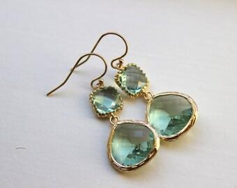 Gold Large Prasiolite Green Earrings Light Green Jewelry - Two Tiered Earrings Prasiolite Bridesmaid Jewelry Light Green Wedding Jewelry