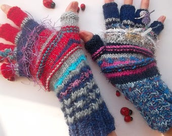 Women Size M 20% OFF Ready To Ship Half Fingers OOAK Mittens Cabled Multicolor Gloves Hand Knitted Warm Accessories Boho Warmers Winter 27