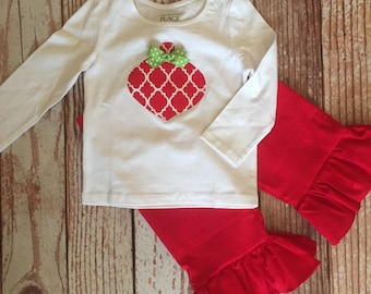 Holiday Ruffle Pant Outfit - Red Quatrefoil Ornament - Christmas Outfit - Ruffle Pant Outfit - Baby Girl/ Toddler Girl - Sizes 12M thru 4T