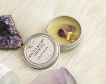 Anxiety Salve - Stress Relief Salve - Calm Balm - Crystal Infused Salve - Vegan Salve - Natural Skin Care  