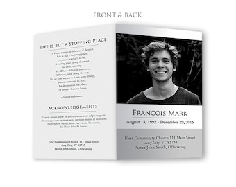 Funeral Program Template - Photoshop PSD *INSTANT DOWNLOAD*