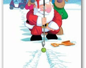Snow Putting Golf Holiday Card - Funny 18 Cards & Envelopes - 10001