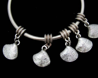 10 Antique Silver Clam Shell Euro Style Charm Dangle Beads (B25i2)