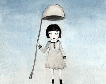 Laddle Umbrella - Miniature Girl in the Rain, Grey Day, Alice in Wonderland - Watercolor illustration 5x5