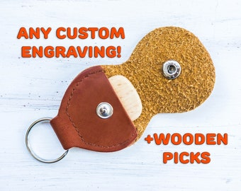 Custom Wood Guitar Pick with Leather Pick Holder Engraved Wooden Plectrum Personalized Fathers Day Gift for Musician for Him for Husband