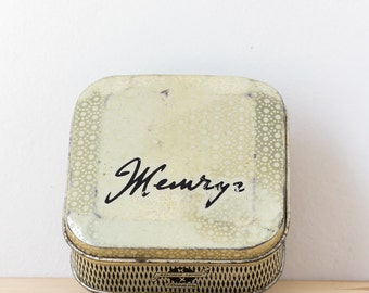 Tin box vintage Metal box Collectible tin Small tin Rusty tin Tooth powder tin