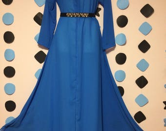 Simpe Long Sleeve Dark Blue Ocean Dress