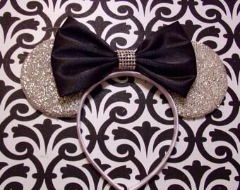 Cute Black Satin Bow Tie Rhinestone Silver Sparkle inspired Minnie Mouse Headband Ears