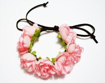 Pink Rose Adjustable Bun Wrap, Rose Bun Crown, Hair Bun Wrap Holder, Flower Hair Bun, Floral Bun Wrap, Hair Bun Accessories