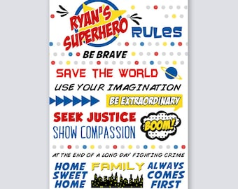 Superhero Wall Art, Superhero Rules, Superhero Decor, Super Hero Wall Art, Wall Art Superhero, Superhero Party, Superhero Prints, Rules