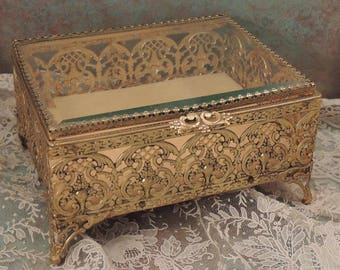Large Gold Filigree Jewelry Casket, Jewelry Box, Gold Filigree Trinket Box, Gold Metal Jewelry Box,Beveled Glass Jewelry Casket, Chanteclair
